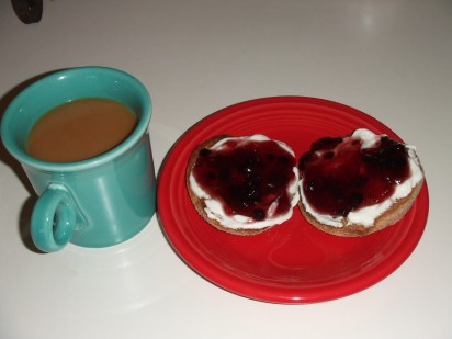 whole wheat english muffin, Fage greek yogurt, wild blueberry fruit spread